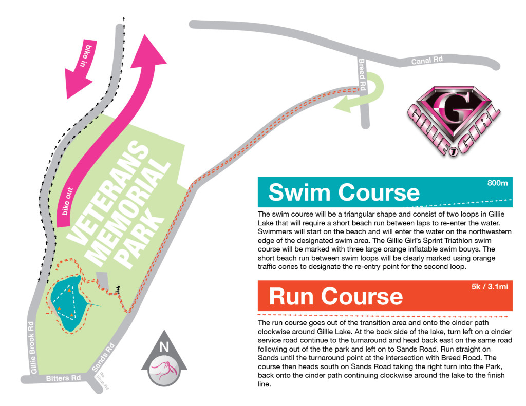 Gillie Girl Triathlon - Swim Course - Run Course - Map